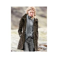 Via Spiga Leopard-Print Coat ❤ liked on Polyvore featuring outerwear, coats, pleated wool coat, wool coat, fur-lined coats, woolen coat and stand collar coat