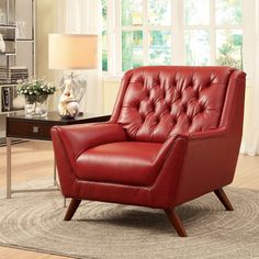Furniture of America Valentino Mid-Century Modern Bonded Leather Club Chair - Overstock™ Shopping - Great Deals on Furniture of America Living Room Chairs