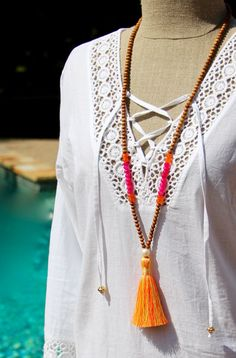 Bright Tassel Mala with Hot Pink Chalcedony by HappyGoLuckyJewels
