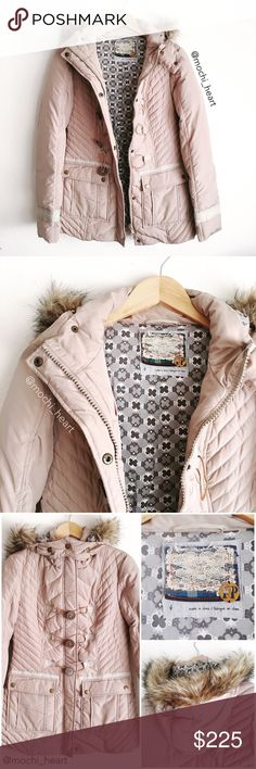 "Free People • taupe quilted nylon jacket Zip front jacket in a beautiful pale taupe. Features toggle button closure in addition to snap front buttons. Faux fur hoodie is optional and detached by zipper and button closure. Length from shoulder is approximately 27-28"" and arm length is 25"".  Barely worn and in excellent condition. Retail price is $298. Free People Jackets & Coats"