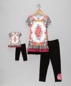 Black & Fuchsia Rose Dress Set & Doll Outfit - Girls | Daily deals for moms, babies and kids