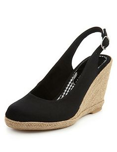 Black Slingback Wedge Espadrilles with Insolia® Clothing