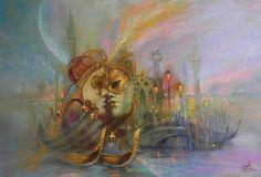 Купить Авторская картина маслом «Венеция! Карнавал!» 90/60см