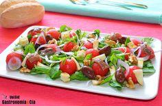 Ensalada de sandía, anchoas y queso ahumado - http://paraentretener.com/ensalada-de-sandia-anchoas-y-queso-ahumado/