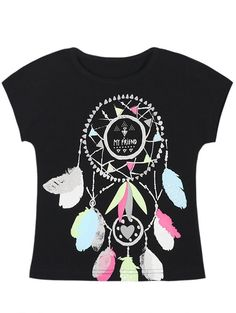 Casual Short Sleeve Round Neck Totem Pattern T-Shirt For Girls #jewelry, #women, #men, #hats, #watches, #belts