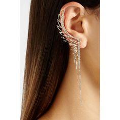 CristinaOrtiz 9-karat rose gold diamond large ear cuff ❤ liked on Polyvore featuring jewelry, earrings, pink gold earrings, hinged earrings, rose gold diamond earrings, diamond jewellery and diamond ear cuff