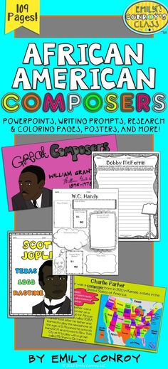 This is perfect for music teachers who want to celebrate black history month in their classroom! It contains information PowerPoint presentations, research pages, posters, coloring sheets, writing prompts, and other unique materials to aid students in learning about 9 famous African American composers and musicians!
