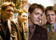 Harry Potter Stars: Then & Now: James and Oliver Phelps as Fred and George Weasley Left: In Harry Potter and the Half-Blood Prince and Right: In Harry Potter and the Deathly Hallows: Part 1 Harry Potter Love, Harry Potter Characters, Harry Potter Books, Weasley Twins, Ginny Weasley, Oliver Phelps, Phelps Twins, Hogwarts, Slytherin Pride