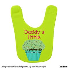 Daddy's Little Cupcake Sprinkles PERSONALIZE Green Baby Bib