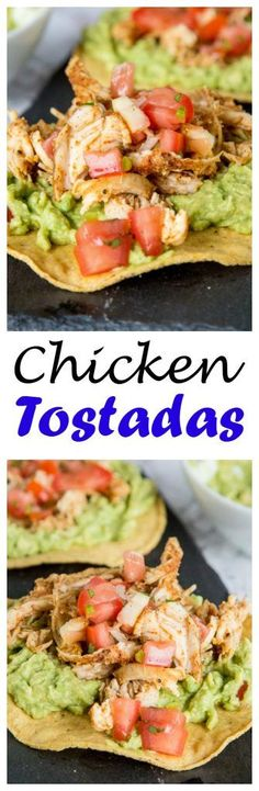 Chicken Tostadas - A quick and easy Mexican dinner! A crispy corn tortilla piled high with guacamole, chicken and salsa. Take a shortcut from the store and this can be ready in no time! (Mexican Recipes With Chicken) Guacamole Chicken, Chicken Tostadas, Chicken Quesadillas, Mexican Dishes, Mexican Food Recipes, Mexican Desserts, Dessert Recipes, Easy Dinner Recipes, Easy Meals