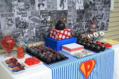via etsy.com DimplePrints SuperHero Printable Party for $20.00 love the backdrop to this.