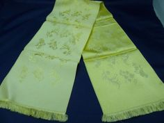 Vintage Yellow Brocade Silk Scarf, Floral Pattern, Spitz Jewelers Santa Fe NM