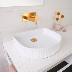 See our complete collection of Above-Counter basins. Our range includes Solid Surface, Bamboo and Ceramic basins. Brass Tap, Brass Faucet, Laundry In Bathroom, White Bathroom, Wall Taps, Custom Made Furniture, Basin Sink, Bathroom Styling