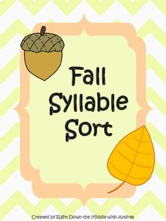Fall Syllable Sort is a great center activity for your students to demonstrate their knowledge of syllable counting. The students work with one syllable, two syllable, and three syllable words. There are 30 syllable cards, a recording sheet, and an answer key. ($)