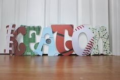 Some more #sports letters #emmarydesign #sportsbabyshower #sportsnursery #sportsroom #sportsparty #wallletters