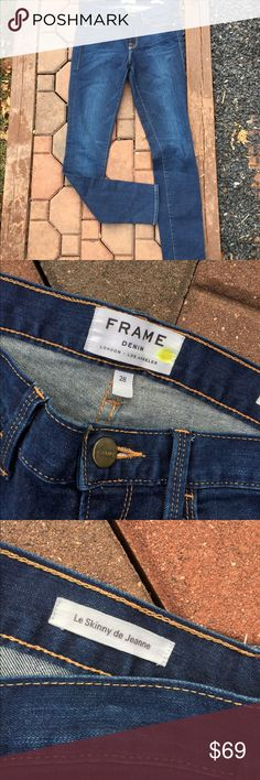 """Frame Denim Le Skinny De Jeanne Jeans Size 28 Size 28. Inseam: 31"""". Front Rise: 8.25"""". Waist flat: 15"""". Super gently preowned. Be sure to view the other items in our closet. We offer  women's, Mens and kids items in a variety of sizes. Bundle and save!! We love reasonable offers!! Thank you for viewing our item!! Frame Denim Jeans Skinny"""