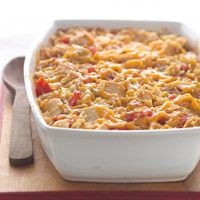 Tex-Mex Chicken and Rice Casserole.  I used smoked sausage kielbasa instead of chicken and a can of Rotel since tomatoes aren't fresh right now.  It. Was. Delicious.