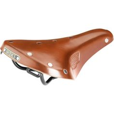 The Brooks England B17 Bike Saddle has been cushioning bums on bikes since 1898. This, the B17 Women's Standard S, cushions your female bum during long road tours and off-road jaunts. Brooks England made this bike seat wider than those in its sports category for comfort on long, multiday rides. This saddle's leather cover, chrome-plated steel rivets, and steel rails look classy atop your two-wheeled steed—plus, the leather conforms to your body shape like leather boots fit your feet.