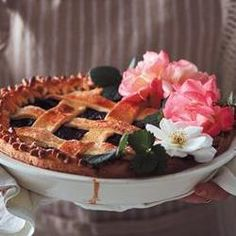Berry, rose and cherry lattice pie with cream cheese pastry Cream Cheese Pastry, Delicious Desserts, Berry, Waffles, Chicken Recipes, Pie, Dinner, Fruit, Breakfast