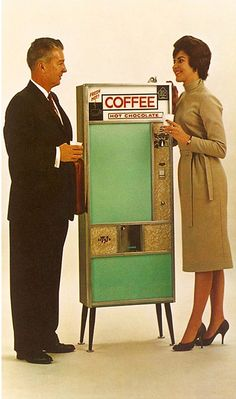 Coffee & Hot Chocolate Vending Machine - I guess my luv designs the 21st century version of this!