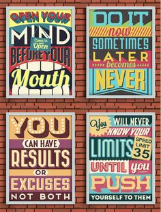 "The description says it much better than I can: ""Colorful Retro Vintage Motivational Quote Poster with Calligraphic and Typographic Elements..."