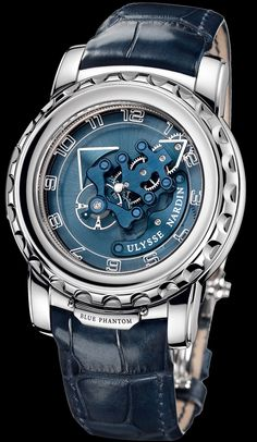 Ulysse Nardin - Blue Phantom. w/ unique method of winding and time adjustment.