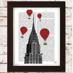 Printed onto genuine antique dictionary pages  A beautiful set of four New York inspired dictionary prints which includes images of the Statue of Liberty, the Flatiron Building, the Empire State Building and the Chrysler Building.