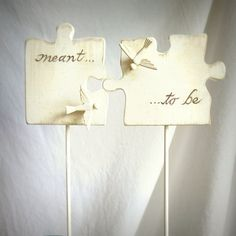Puzzle Piece Wedding Cake Topper with Love by WoodenHeartButtons