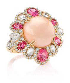 Cellini Jewelers - Coral Flower Ring' a carat cabochon coral is surrounded by alternating rose cut diamonds and pink spinel Round brilliants frame the petals on this ring set in 18 karat rose gold - item Coral Jewelry, Fine Jewelry, Coral Ring, Unique Diamond Rings, Bridal Ring Sets, Or Antique, Jewelry Collection, Diamond Cuts, Jewelry Design