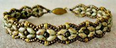 Linda's Crafty Inspirations: Bracelet of the Day: SuperDuo Rosette - Variation