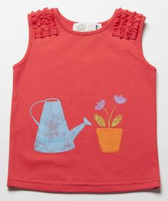 Look at this #zulilyfind! Red Flowers Ruffle Tank - Toddler & Girls #zulilyfinds
