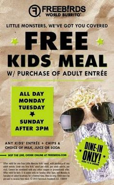 Kids Eat Free at Freebirds College Station #collegestation #free #freebirds