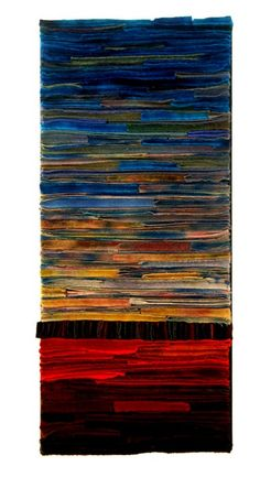 Intense color is my love, and this piece is composed of intense shades of oranges, browns and turquoise moderated by softer grays and tans. It was made from hand dyed recycled wool fabrics from thrift stores. The fabrics are sewn onto a heavy cotton canvas backing and put on canvas stretchers. It is wired, and ready to hang with just 1 nail. It measures 16 by 36. It can be hung either horizontally or vertically. Please let me which way you would like it wired.