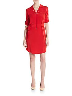 57b8ba1567c9 CALVIN KLEIN Lace-Up Placket Shirtdress.  calvinklein  cloth  shirtdress  Things To