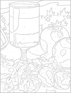 Still Life Color by Number Coloring Book By: Diego Jourdan Pereira Fall Coloring Pages, Printable Coloring Pages, Food Coloring, Adult Coloring Pages, Coloring Pages For Kids, Printable Art, Color By Numbers, Paint By Number, Color By Number Printable