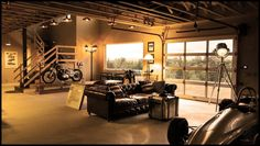 Now this is my idea of interior design!!! Garage or living room? Who cares  it's amazing!!