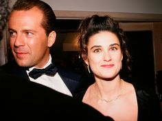 1989: Bruce Willis and Demi Moore at the Irving 'Swifty' Lazar Oscar Party at Spago, in West Hollywood.