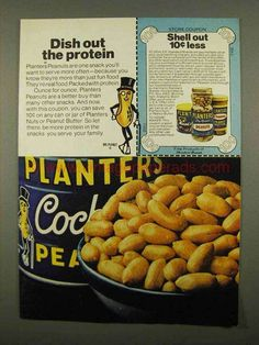 1975 Planters Peanuts Ad - Dish Out The Protein