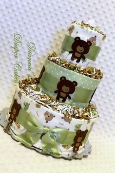 Bears Baby Diaper Cake in Sage Green Shower Gift or Centerpiece