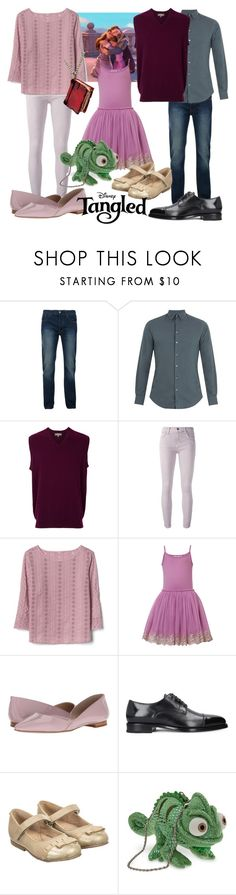 """""""Rapunzel's Family"""" by megdelaina ❤ liked on Polyvore featuring Bellfield, Giorgio Armani, N.Peal, Current/Elliott, Gap, Collette Dinnigan, Marc Fisher LTD and Disney"""