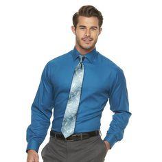 Men's Van Heusen Flex Collar Regular-Fit Pincord Dress Shirt, Size: 17.5 36/37, Turquoise/Blue (Turq/Aqua)