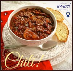 """My Triple Cook-Off Winning Chili """"This recipe had the right amount of heat! The flavors blend well and it has fast become a favorite of many on the Crew! Best Chili Recipe, Chilli Recipes, Crockpot Recipes, Soup Recipes, Dinner Recipes, Cooking Recipes, Award Winning No Bean Chili Recipe, Chili Cookoff Winner Recipe, Cornbread Recipes"""