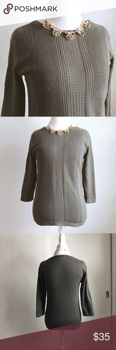 banana republic sweater Army green Banana Republic sweater. Crew neck, 3/4 length sleeves, pretty open weave on front. Size medium. Worn just a couple times and in excellent condition! / BR, Banana Republic, sweater, top, shirt, 3/4 sleeves, long sleeves, knit, weave, open, army, olive, forest, green / Banana Republic Sweaters