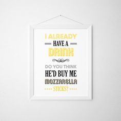 Liz Lemon Print, 30 Rock, Tina Fey, Typography Print, Quote Print, TV Quote, Yellow Art - Mozzarella Sticks