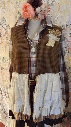 Houndstooth Tweed Altered Couture Vest Vintage Lace Vest