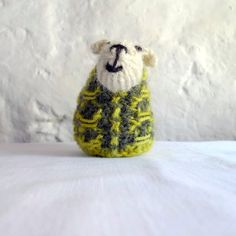 One miniature sheep handknit with natural white by FormerlyFleece