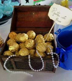 Golden chocolate treasures at a pirate birthday party! See more party planning i. - Golden chocolate treasures at a pirate birthday party! See more party planning ideas at CatchMyPart - Mermaid Theme Birthday, Little Mermaid Birthday, Little Mermaid Parties, Pirate Birthday, Birthday Party Themes, Birthday Kids, Mermaid Birthday Party Decorations Diy, Pirate Party Decorations, Mermaid Party Favors