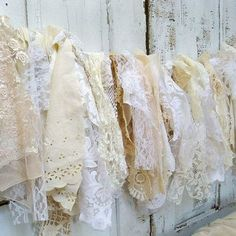 Shabby chic garland wall hanging homemade romantic vintage lace white cream and vanilla home decor