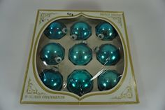 """Vintage Christmas Ornaments, Shiny Brite Turquoise Glass Balls, Lot of 9,  2 1/4"""" Glass Balls, Holiday Decor, FREE Priority Shipping"""