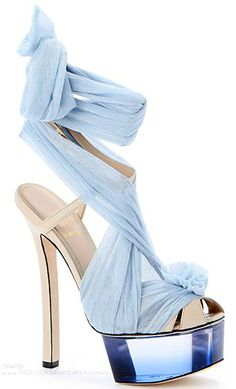 Fendi ~ Summer Platform Heel w Organza Strap Embellishment, Blues 2015